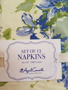 NEW APRIL CORNELL FLORAL BLUE YELLOW FRENCH COUNTRY SET OF 12 NAPKINS