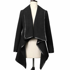 Women's Irregular Trench Coat Long Wool Jacket Parka Waterfall Cardigans Outwear