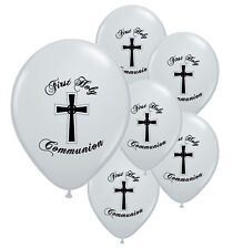 10 X 1ST / FIRST HOLY COMMUNION SILVER HELIUM QUALITY BALLOONS (BLACK PRINT)