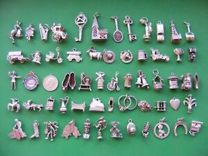 P) VINTAGE STERLING SILVER CHARMS CHARM COW LEEK HORSE BOOT HARP CLOCK STORK CAB