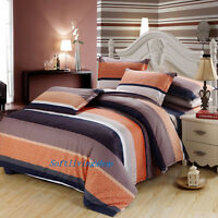 Striped Brown Single/Double/Queen/King Bed Quilt/Doona/Duvet Cover Set Cotton