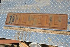 Original Vintage Embossed Oil Well Pump Oil Field Hit Miss Gas Engine Steel Sign