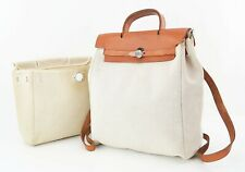 Authentic HERMES Her Bag 2 in 1 Beige Canvas Backpack Hand Bag Purse #25018A