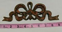 Vintage Solid Brass Furniture Wall Mount Brass Ribbon Bow 8.5 inches long 9.1oz