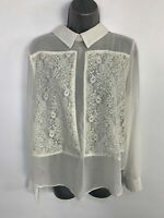 WOMENS TOPSHOP WHITE LACE LONG SLEEVE CASUAL SHEER SHIRT BLOUSE TOP SIZE UK 12