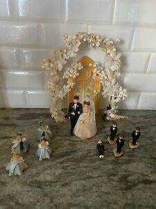Vintage 1960's Wilton Wedding Cake Topper~Bride & Groom~Wedding Party~Arch