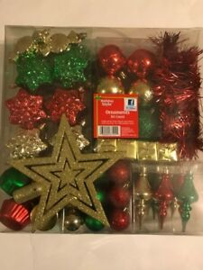 Holiday Style Christmas Multi-Color Ornaments 84 Count Assorted Styles