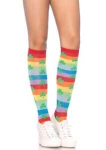 Leg Avenue Acrylic Clover Rainbow Stripes Knee High, One Size