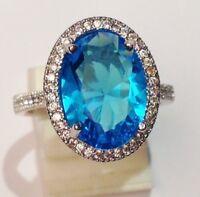 bague argent 925 poinçon style joaillerie cristaux diamant topaze brille T.57