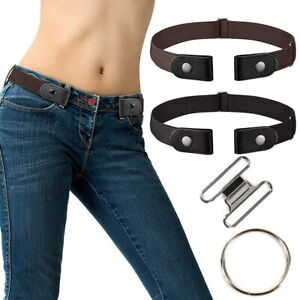 2 x Buckleless Buckle Free Elastic Waist Belt Elastic Waistband Invisible Unisex