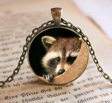 Vintage raccoon Cabochon Bronze Glass Chain Pendant Necklace