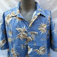 Pierre Cardin Hawaiian Aloha Shirt Size 2XL Palm Fronds Pocket Match