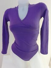 purple lady cotton S  bodysuit stretch top thong bottom leotard blouse
