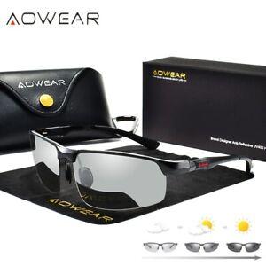 Aluminum Rimless Photochromic Polarized Sunglasses Men's Eyewear Driving Glasses