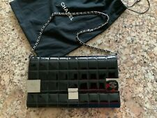 100% AUTHENTIC CHANEL VINTAGE QUILTED LEATHER CLUTCH WITH CARD HOLDER, W/CHAIN