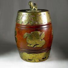 Chinese Wood & Brass Barrel Humidor Lion Finial Dragons Flaming Pearl Cigar Box