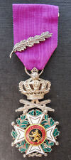 Belgium: Silver Order of Leopold I Knight military medal with palm- Argent mark
