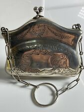 WW1 Art Deco Solid Silver Purse & Finger Chain 1918 Birmingham T.Heatly 52.6g