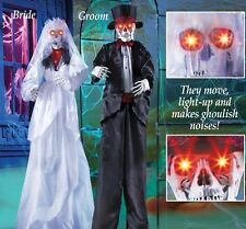 Lighted & Animated Skeleton Bride & Groom Indoor/Outdoor Halloween Decoration