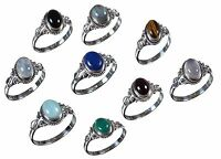 Handmade 925 Solid Sterling Silver Ring Natural Multi Gemstones US Size JR15