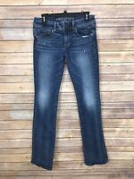 American Eagle Womens 6 Long Kick Boot Jeans Stretch Low Rise Distressed Denim