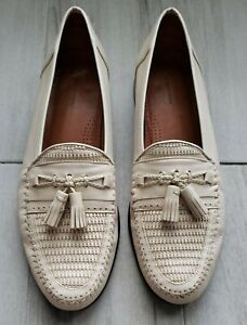 Mens Dress Shoes Ivory Leather Slip On Loafers Braided Tassel Woven Toe Size 11