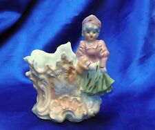 Vintage porcelain lady with basket pink shirt  hat green skirt match holder vase