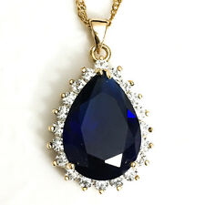 "Sapphire Blue Teardrop Large Pendant Necklace 14k Gold Plated Chain 18""  YBP32"