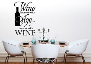 Wine Improves With Age Kitchen Dining Room Decal Wall Art Sticker Picture