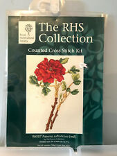 """Red Peony Counted Cross Stitch Kit - 9"""" x 7"""" RHS Collection RHS07 Paeonia"""