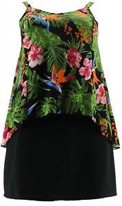 Denim & Co Beach Hi-Low Tankini Swimsuit Skirt Black Tropical 6 NEW A303155