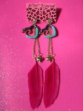 Betsey Johnson Inch Worm Pink Feather Dangle Earrings
