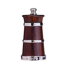 SOLID SILVER & ROSE WOOD PEPPER MILL / PEPPER GRINDER (CHURN SHAPE)