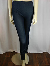 Ladies/Womens Blue Leggings With Button Detail  One Size  (2RN)