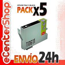 5 Cartuchos de Tinta Negra T0611 NON-OEM Epson Stylus DX3800 24H