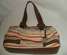 Etienne Aigner Women Large Multi-Colored Fabric Striped Pocketbook FREE SHIPIN'
