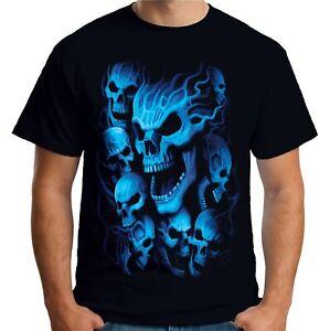 Velocitee Mens T-Shirt Blue Ghost Skulls Horror Evil Death Scary Biker A18634