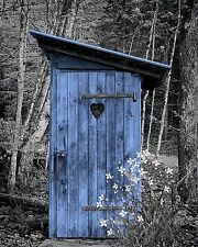 Blue Gray Home Decor Vintage Outhouse Privy Wall Art Photo Print Picture Matted