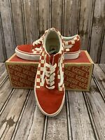 Vans Womens Old Skool Canvas Checkerboard Red Low Top Skate Shoes M US 5.5 W 7.0
