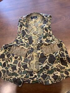 Vintage Red Head Duck Camo Hunting Vest With She'll Holders And Pouch, Size L