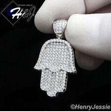 MEN WOMEN 925 STERLING SILVER ICY DIAMOND HAMSA HAND SILVER CHARM PENDANT*SP94