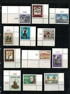 Austria 1986 Small Selection Of Twelve Stamps With Tabs 2 - MUH