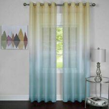 2 Window Curtain Panel Rainbow Multi-Color Blue/Yellow Semi-Sheer- Two