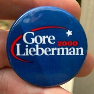 "2000 GORE LIEBERMAN 1 5/8"" Litho Presidential Campaign Button Pin AUTHENTIC G01"