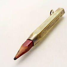 VINTAGE metal brass wood pencil holder antique 1930's