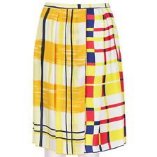 Clements Ribeiro Yellow White Red Patterned Unique Silk Scarf Skirt UK10 IT42