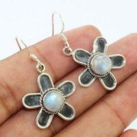 "Rainbow Moonstone - India 925 Sterling Silver Earrings Jewelry 1 1/2"""