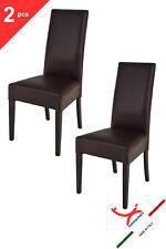 TOMMYCHAIRS Set 2 sedie modello LUISA fusto wengé rivestito ecopelle color moka