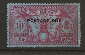 New Hebrides 1925 10d (1f) carmine/blue postage due, m/m (SG D5). Cat £40