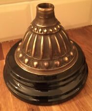 ANTIQUE VERITAS OIL LAMP BASE GLAZED STONEWARE WITH STEPPED BRASS MOUNT